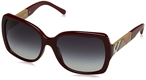 Burberry Damen BE 4160 Wayfarer Sonnenbrille, 34038G, Bordeaux, Gray Grad