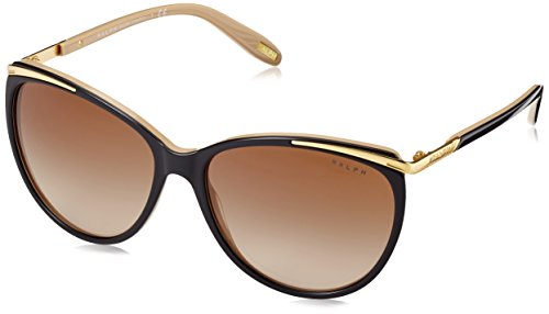 Ralph Damen RA 5150 Contemporary Ralph Plaque Cateye Sonnenbrille, 109013, Black/Nude, Brown Grad