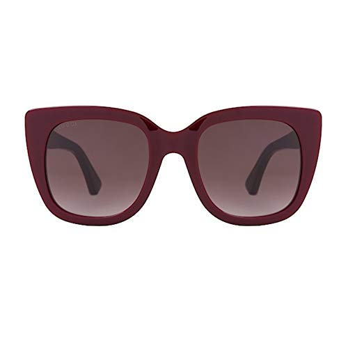 Gucci Sonnenbrillen GG0163S Burgundy/Brown Shaded Damenbrillen